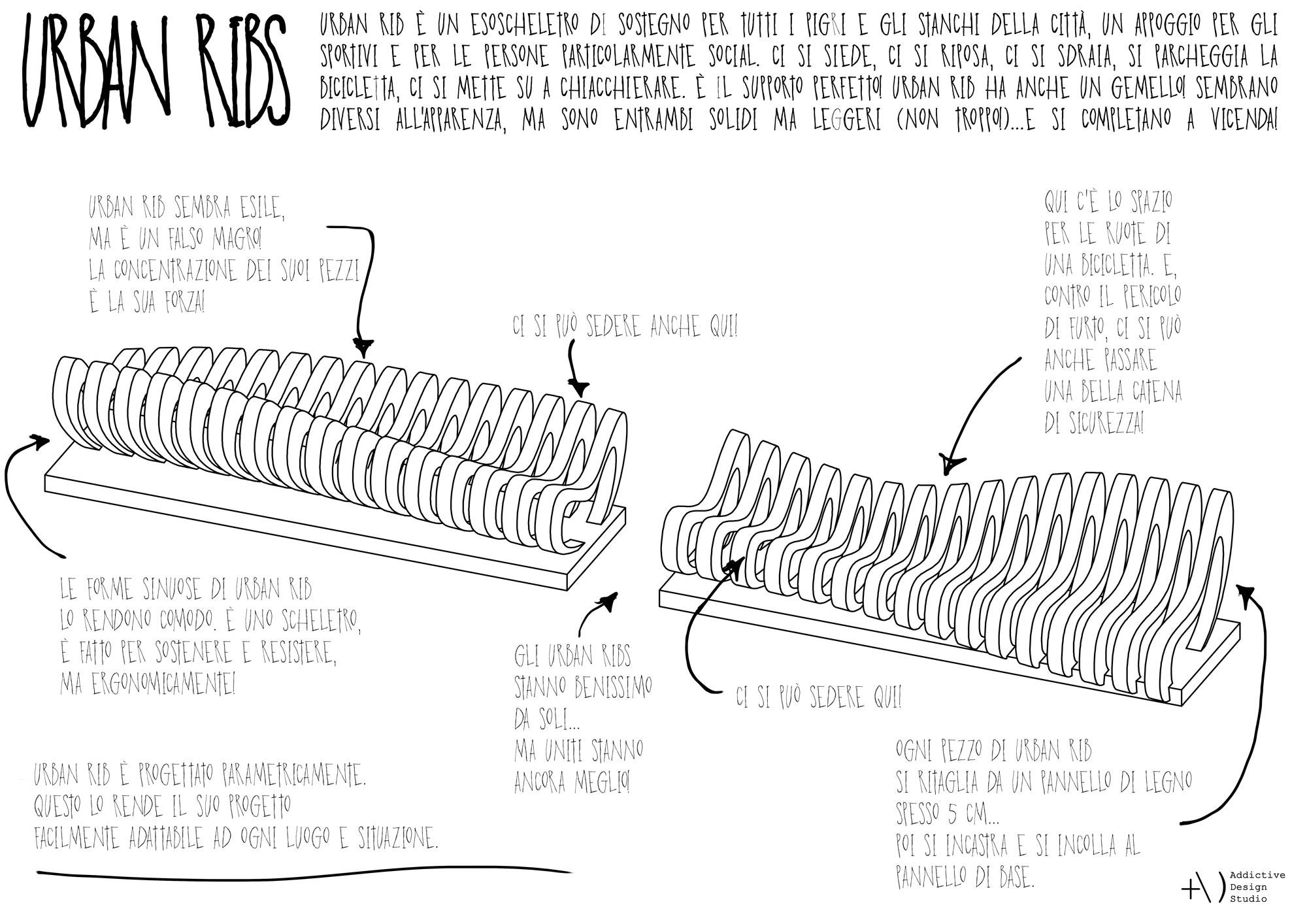 Urban Ribs parametric bench