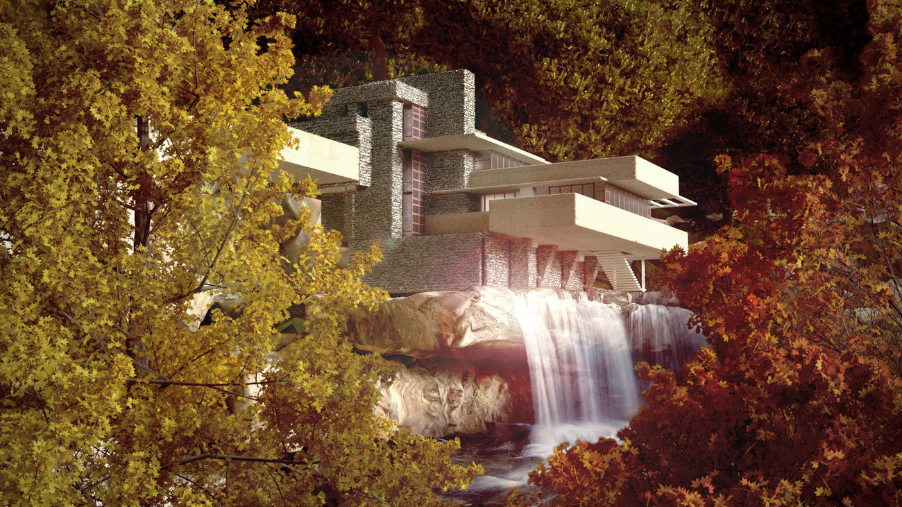 Frank Lloid Wight Waterfall House render
