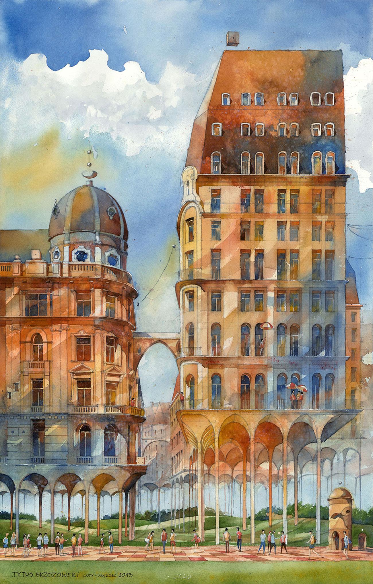 Tytus Brzozowski watercolor architectural