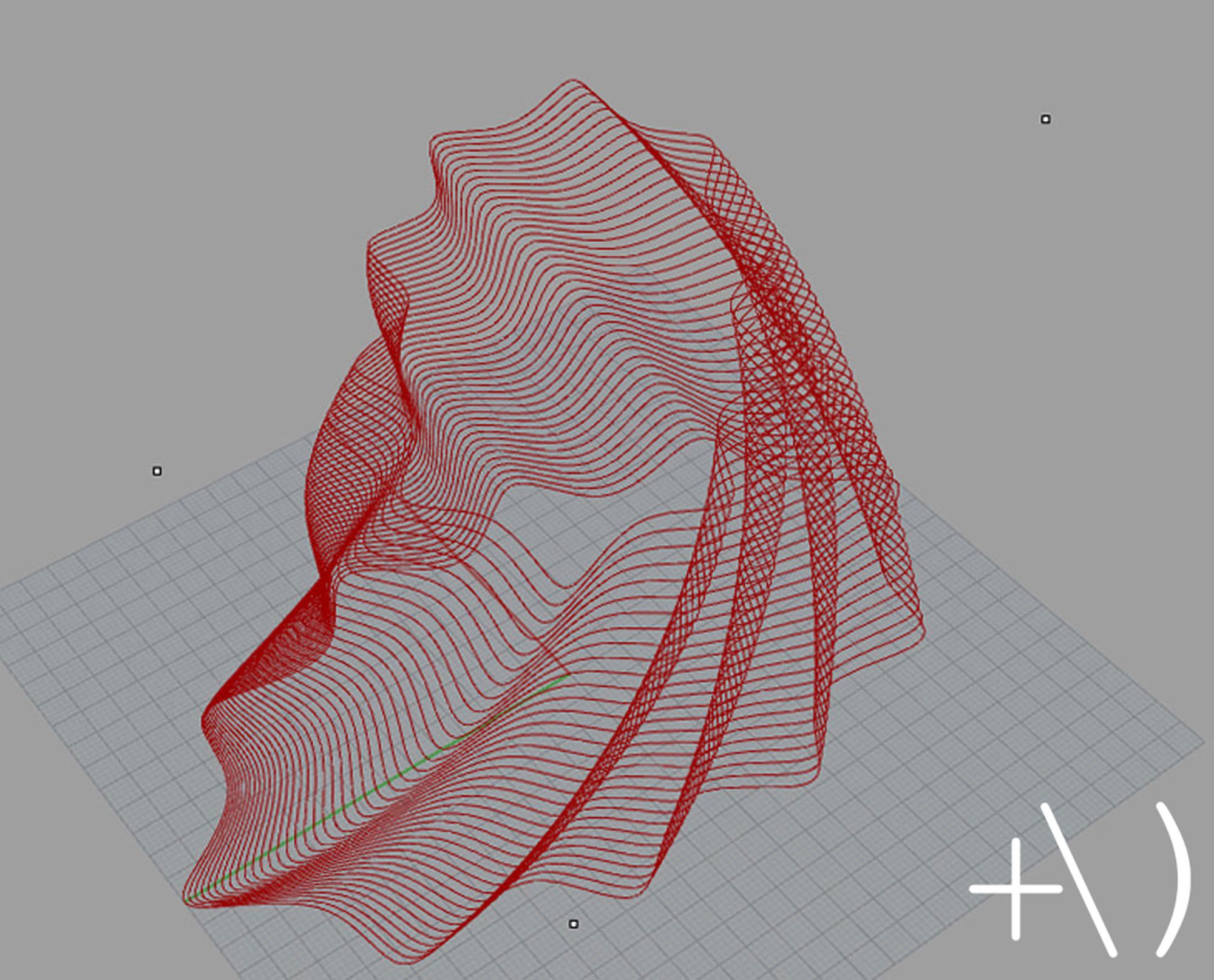 computational clay design torsione wireframe rhino