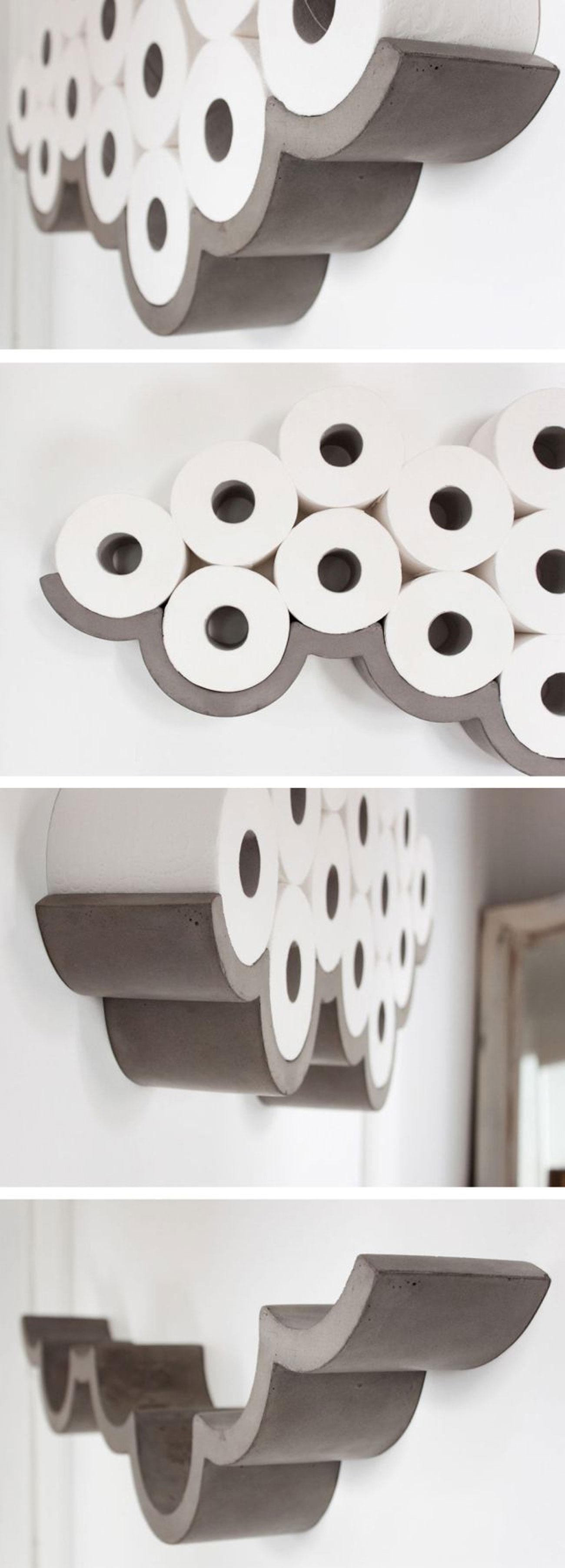 concrete toilette paper holder