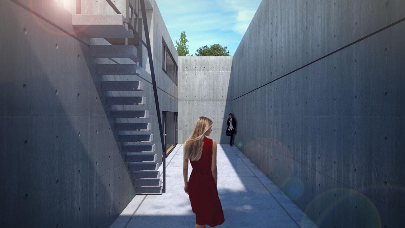 Tadao Ando Nakayama House render