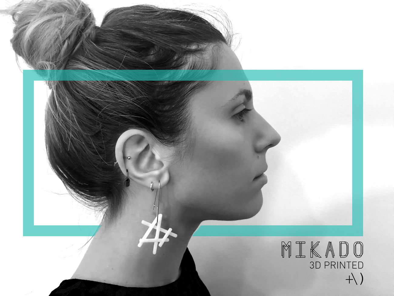 mikado 3d printed earrings